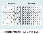 vector sudoku with answer 102.... | Shutterstock .eps vector #699246166