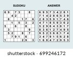 vector sudoku with answer 101.... | Shutterstock .eps vector #699246172