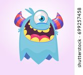 cute cartoon monster  with... | Shutterstock .eps vector #699257458