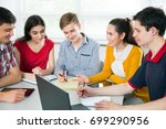 group of young students...   Shutterstock . vector #699290956
