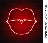 vector woman neon kiss lips... | Shutterstock .eps vector #699315736