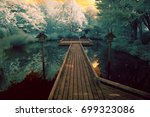 Stock photo infrared photography of a japanese garden based on elements of shinto and zen photo shot with a 699323086