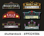 vector set of neon signboards... | Shutterstock .eps vector #699324586