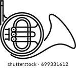 french horn outline icon | Shutterstock .eps vector #699331612