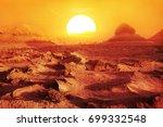 sunset in the desert. iran.... | Shutterstock . vector #699332548