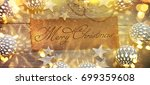 christmas background with... | Shutterstock . vector #699359608