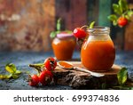 rose hip jam in jar with fresh... | Shutterstock . vector #699374836