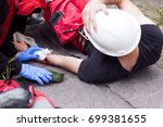work accident. first aid. | Shutterstock . vector #699381655