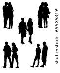 drawing couples on the walk.... | Shutterstock . vector #69939319