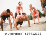 group young attractive people... | Shutterstock . vector #699412138