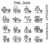 tree icon set in thin line style | Shutterstock .eps vector #699426292