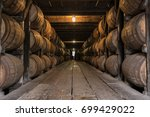 low angle of bourbon aging... | Shutterstock . vector #699429022