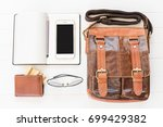 top view of leather bag and...   Shutterstock . vector #699429382