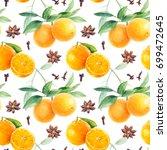 Orange Seamless Pattern. Orang...