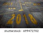 closeup 2018 figures on the... | Shutterstock . vector #699472702