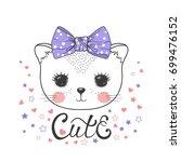cute baby cat girl. little... | Shutterstock .eps vector #699476152