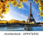seine in paris with eiffel... | Shutterstock . vector #699476542