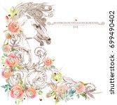 horses sketch. roses flower... | Shutterstock . vector #699490402