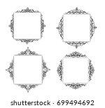 vintage vector swirl frame set | Shutterstock .eps vector #699494692