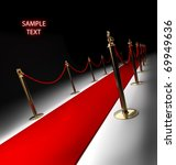 Red carpet isolated on black 3d render - stock photo