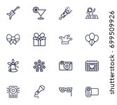 set of 16 cheerful outline... | Shutterstock .eps vector #699509926