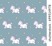 cute cartoon unicorn and stars... | Shutterstock .eps vector #699514978