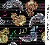 embroidery human skull  angel...   Shutterstock .eps vector #699516832