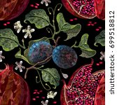 embroidery pomegranate and... | Shutterstock .eps vector #699518812