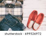 men casual outfits with... | Shutterstock . vector #699526972