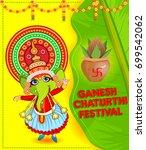 happy ganesh chaturthi festival ... | Shutterstock .eps vector #699542062