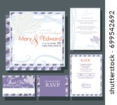 set of wedding cards or... | Shutterstock .eps vector #699542692