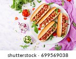 hot dog with sausage. bacon ... | Shutterstock . vector #699569038