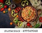 vegetarian crumbly pearl barley ... | Shutterstock . vector #699569068