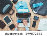 corporate businessman packing... | Shutterstock . vector #699572896