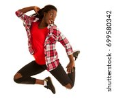 active young woman dancer jumps ... | Shutterstock . vector #699580342