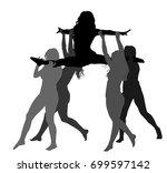 cheerleader dancers figure... | Shutterstock .eps vector #699597142