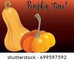 two orange pumpkin on deep red... | Shutterstock .eps vector #699597592