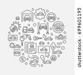vehicle insurance outline...   Shutterstock .eps vector #699601195