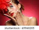 beautiful girl withs a flowers... | Shutterstock . vector #69960205