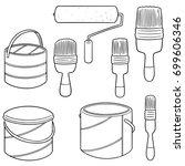 vector set of paint bucket and... | Shutterstock .eps vector #699606346