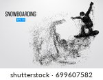 silhouette of a snowboarder... | Shutterstock .eps vector #699607582