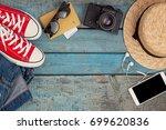 still life of various items for ... | Shutterstock . vector #699620836
