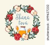 shana tova greeting card ... | Shutterstock .eps vector #699627232