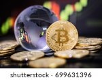bitcoin gold coin and defocused ... | Shutterstock . vector #699631396