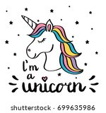 i'm a unicorn handwriting text... | Shutterstock .eps vector #699635986