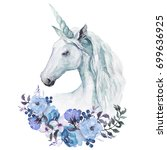 watercolor animal floral boho... | Shutterstock . vector #699636925
