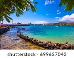 the bay with a dock in the... | Shutterstock . vector #699637042