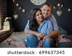 portrait of a romantic coup | Shutterstock . vector #699637345