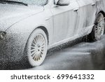 car washing process of full... | Shutterstock . vector #699641332