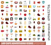100 cafe advertising icons set... | Shutterstock .eps vector #699652756